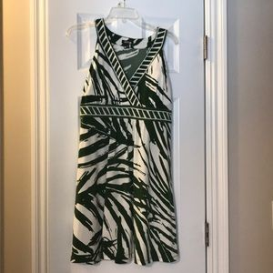 Green and cream dress.  Great for summer bbq's